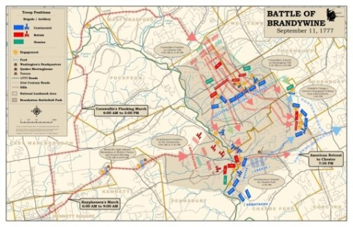 Map of the Battle of Brandywine, September 11, 1777